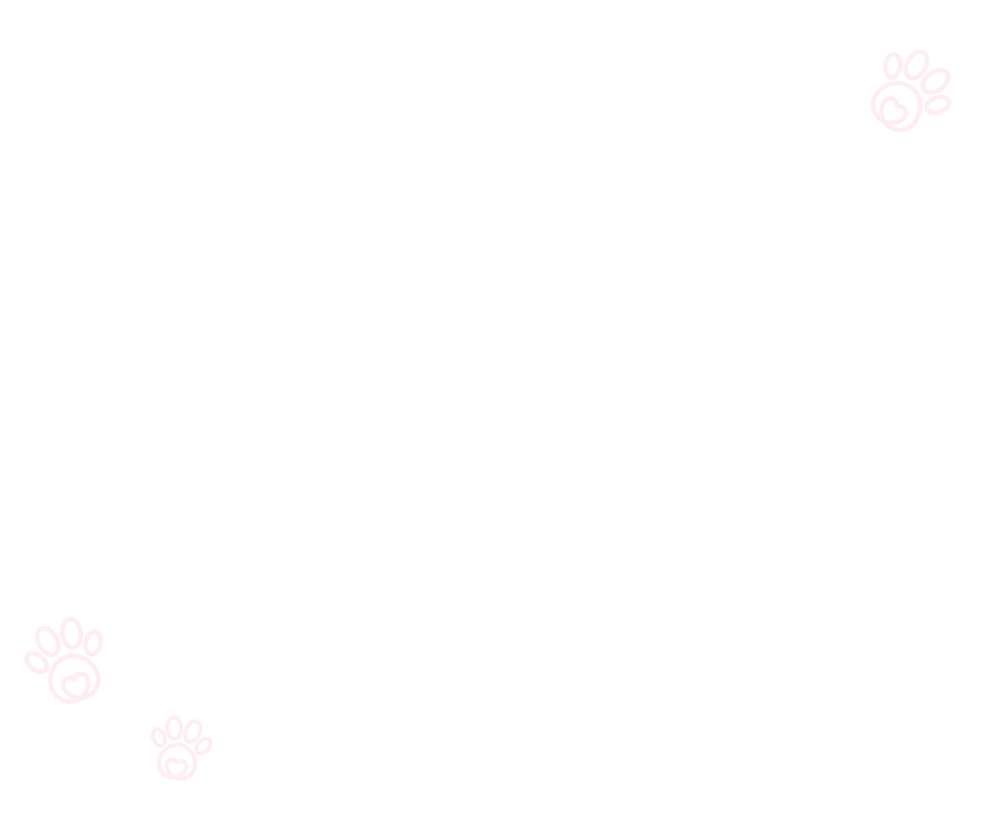 Transparent background with white paw print drawings.